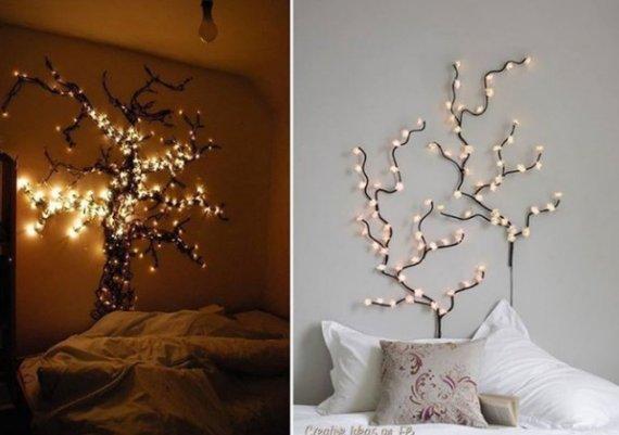 Идеи за дома: светещо дърво в спалнята