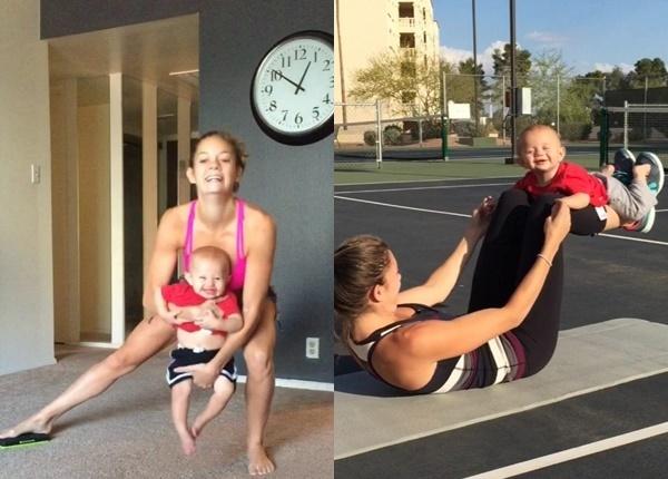 Тази млада майка използва детето в тренировките си