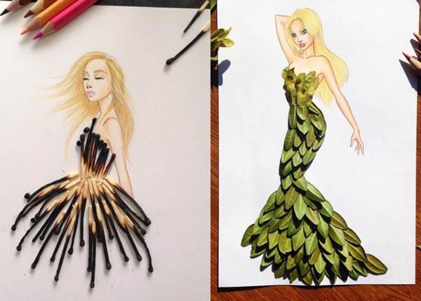 Невероятно красиви модни рисунки! Направени от най-различни неща от околната среда