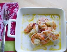 Рецепта за скариди със сос от синьо сирене