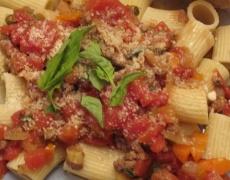 Рецепта за ригатони с Маскарпоне, домати и босилек